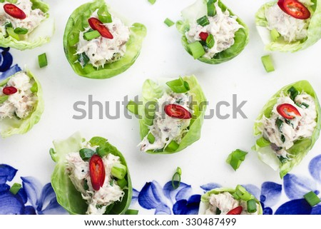 Brussels sprouts stuffed with mackerel pate, chives and chili. - stock photo