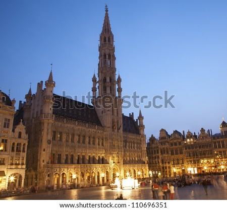 Brussels - The Town hall in evening. UNESCO World Heritage Site.