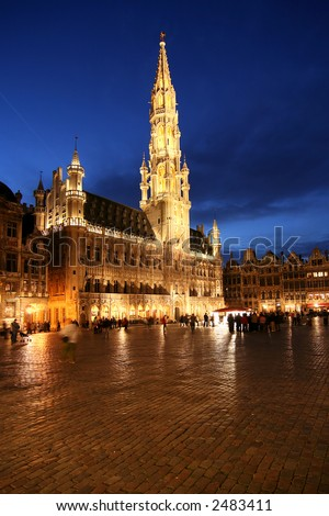 Brussels town hall on Grand Place at night - stock photo