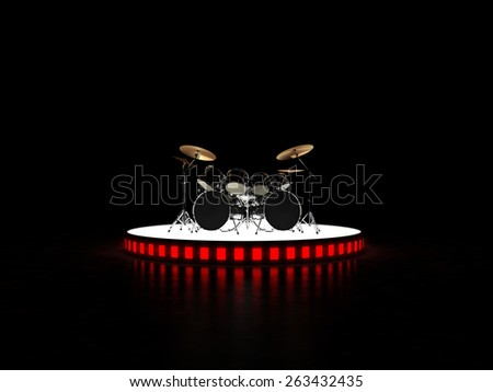 Brutal drum kit stands on the podium. Hell yeah!!!  - stock photo