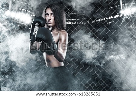 Brutal Fighter boxer woman close up. Sport Concept.
