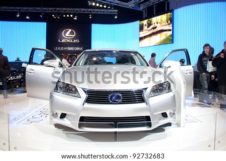 BRUXELLES, BELGIUM - JANUARY 14: Lexus Hybrid car on display at Belgian Auto Salon 2012 on January 14, 2012 in Bruxelles, Belgium - stock photo