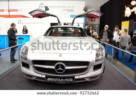 BRUXELLES, BELGIUM - JANUARY 14: Mercedes AMG car on display at Belgian Auto Salon 2012 on January 14, 2012 in Bruxelles, Belgium - stock photo
