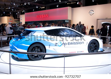 BRUXELLES, BELGIUM - JANUARY 14: Nissan Leaf Nismo RC electric car on display at Belgian Auto Salon 2012 on January 14, 2012 in Bruxelles, Belgium - stock photo