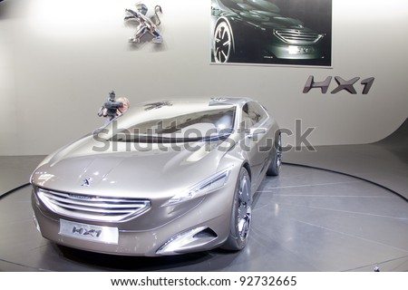 BRUXELLES, BELGIUM - JANUARY 14: Peugeot HX-1 concept car on display at Belgian Auto Salon 2012 on January 14, 2012 in Bruxelles, Belgium - stock photo