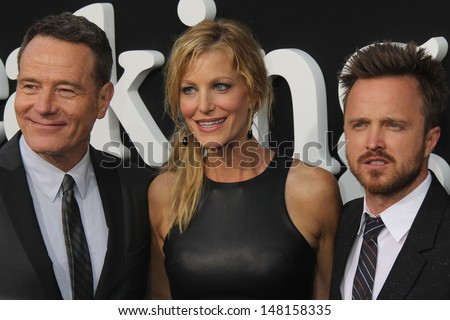 "Bryan Cranston, Anna Gunn and Aaron Paul at the ""Breaking Bad"" Special Premiere Event, Sony Studios, Culver City, CA 07-24-13 - stock photo"