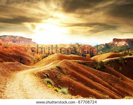 Bryce Canyon at sunrise - stock photo