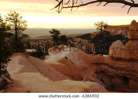Bryce canyon hoodoos in Queen's Garden at sunrise - national park, Utah. United States - stock photo