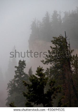 Bryce canyon in the winter, sleet and freezing rain - stock photo