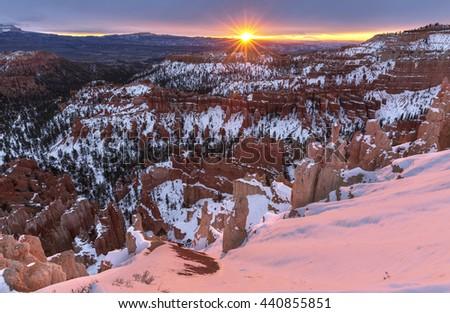 Bryce Canyon National Park at sunrise  - stock photo