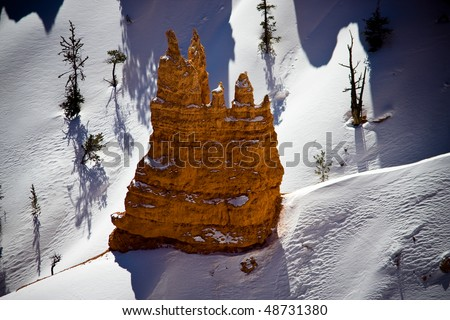 Bryce Canyon National Park located in Utah, USA and is distinctive due to geological structures called hoodoos, formed by wind, water and ice erosion. - stock photo