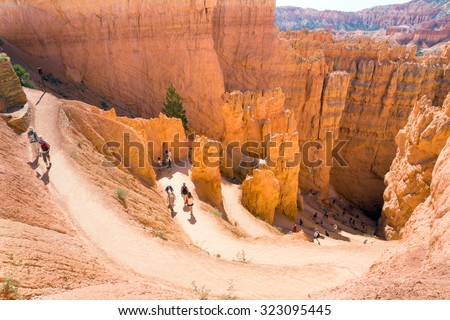 BRYCE CANYON NATIONAL PARK, UTAH/USA - AUGUST 10 2015:The descent down the trail of the Navajo. Bryce Canyon National Park, Utah, United States - stock photo