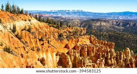 Bryce Canyon National Park with Grand Escalante / Grand Staircase National Monument in background - stock photo