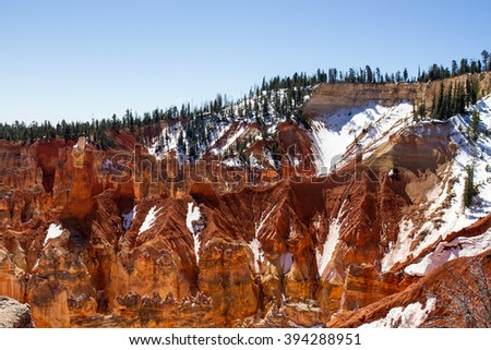 Bryce Canyon National Park with snow in late winter - stock photo