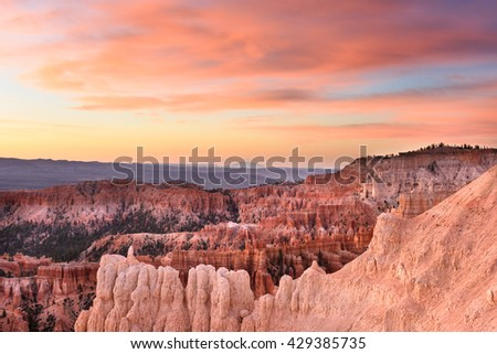 Bryce Canyon with Colorful Pastel Sunrise - stock photo