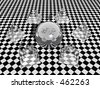 Bryce creation.  Glass sphere and pyramides against a patterned background.  Very surreal. - stock photo