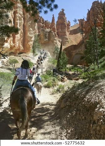 Bryce Mule Ride, Bryce National Park, Utah - stock photo