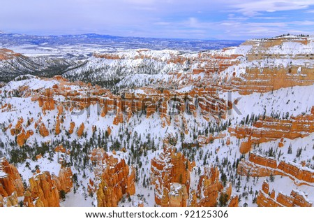 Bryce National Park in winter (Utah, Usa) - stock photo
