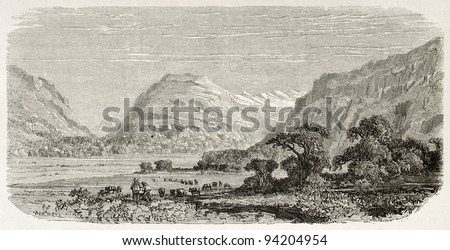 Bryn Myrddin old view, Wales (Merlin's Hill). Created by Grandsire after Erny, published on Le Tour du Monde, Paris, 1867 - stock photo