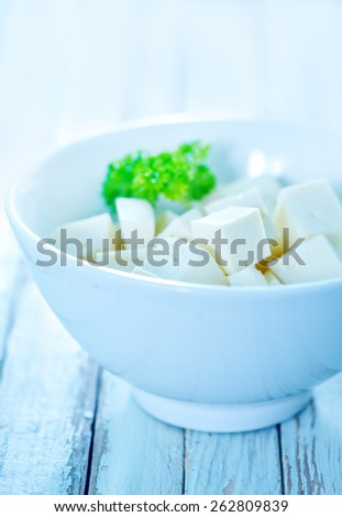 brynza cheese in bowl on the table
