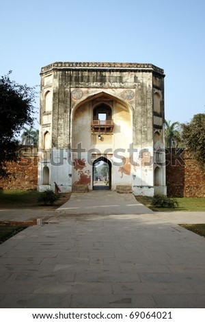 Bu Halima Gate at Humayun's Tomb, New Delhi. Built during the Mughal rule in the sixteenth century. - stock photo