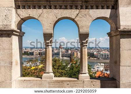 Buadpest panorama view from Gellert hill, Hungary - stock photo