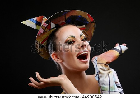 buautiful and attractive woman with brush - stock photo
