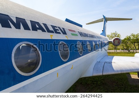 """BUBAPEST-MAY 7: MALEV Aircraft Museum aircraft TU 134 tail the Hungarian airline """"Malev"""", Permanent International Aerospace Exhibition May 7, 2014 in Budapest Int. Airport Hungary.  - stock photo"""
