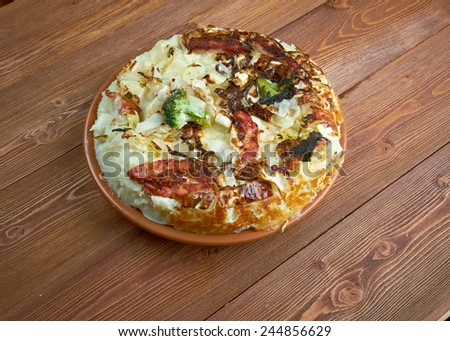 Bubble and Squeak-traditional English dish made fried leftover vegetables, potato and brussel sprouts,   cabbages - stock photo