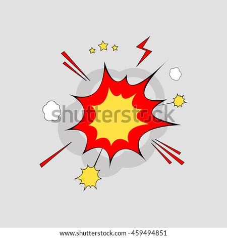 Bubble comic in explosion over gray background.