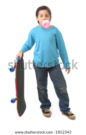 Bubble gum boy holding a skate. Look at my galery for more pictures of this model - stock photo