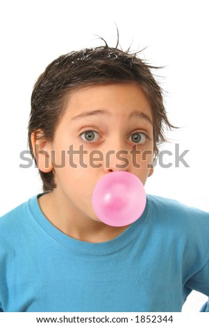 Bubble gum boy portrait with fun expressions. Look at my galery for more pictures of this model - stock photo