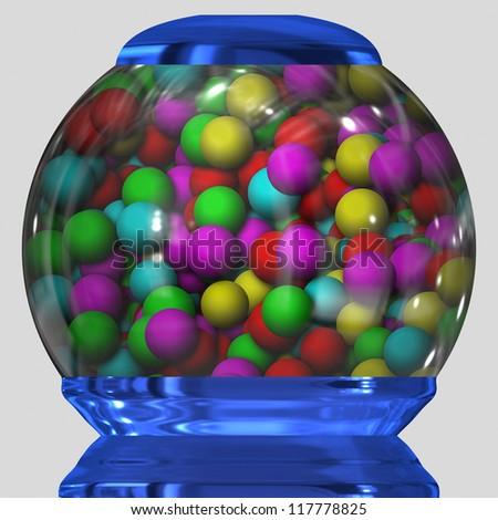 bubble gum in bowl - stock photo