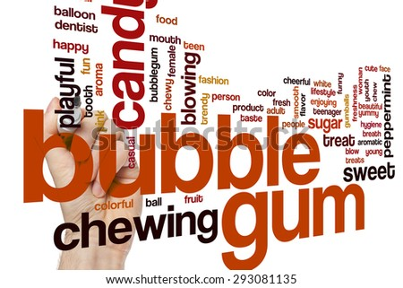 Bubble gum word cloud concept with candy chewing related tags - stock photo