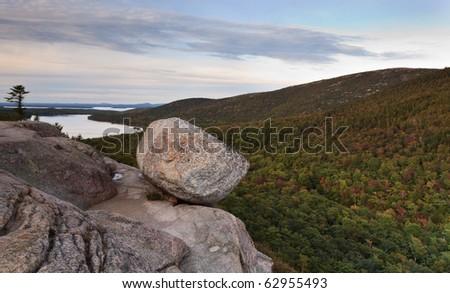 Bubble or balance rock, Acadia national park - stock photo