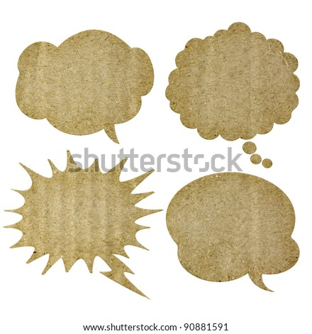 bubble speech made from recycle paper - stock photo