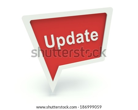 Bubble speech sign 'Update' in red. 3d render illustration. - stock photo