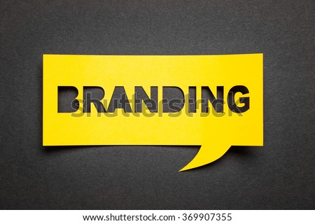 "Bubble speech with cut out phrase ""branding"" in the paper. - stock photo"