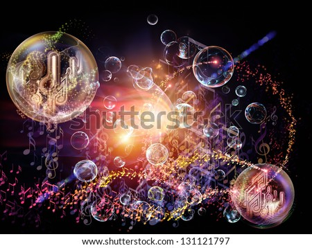 Bubble Symphony series. Background composition of  musical notes, fractal spheres and visual elements to complement your layouts on the subject of music, dance, song and celebration