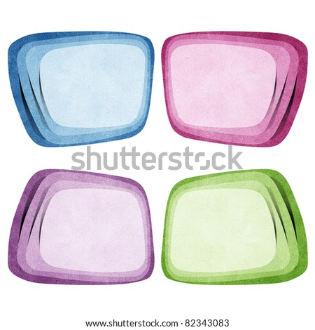 bubble talk and header tag recycled paper craft stick on white background - stock photo