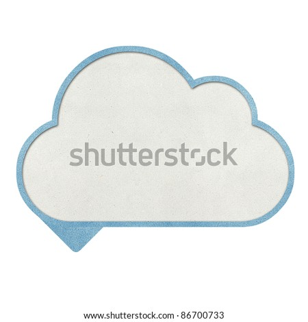Bubble talk cloud and weather recycled papercraft background - stock photo