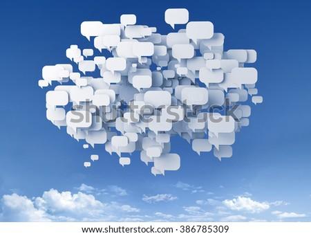 bubble talk over the sky - stock photo