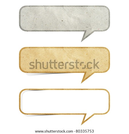 bubble talk  tag recycled paper craft stick on white background - stock photo