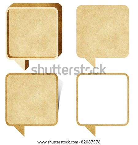 bubble talk tag recycled paper craft stick on white background