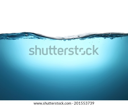 bubbles and splashes of fresh water close up. beautiful abstract blue background. Can be applied as a texture. - stock photo
