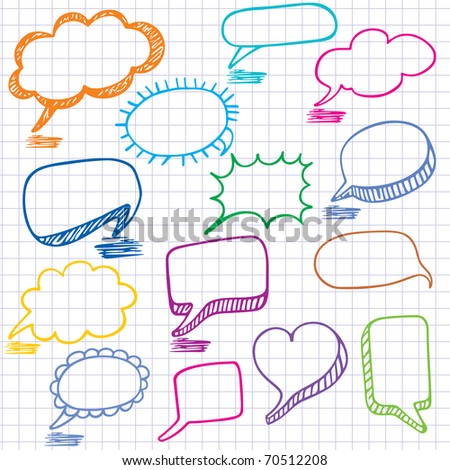 Bubbles for speech. Seamless doodle background. - stock photo