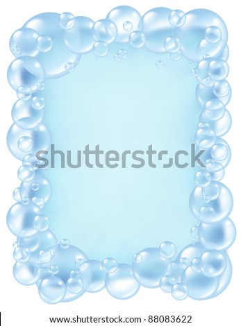 Bubbles frame and transparent bath soap suds with  bubble foam border composition as a clean blue bath washing and freshness symbol of cleanliness. - stock photo