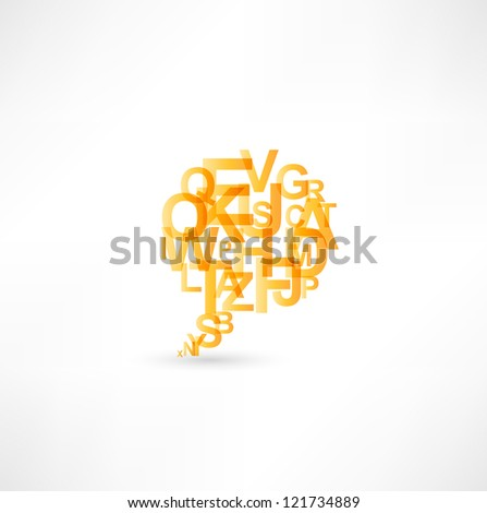 Bubbles icon built of letters - stock photo