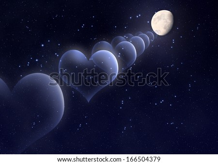 Bubbles in the shape of a heart against the moon in space - stock photo