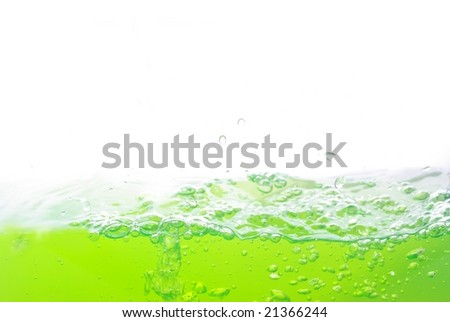 bubbles in water on white background - stock photo